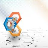 Cogwheels obramiający trzy wymiarów sześciokątem Fotografia Royalty Free