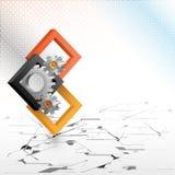 Cogwheels obramiający trzy wymiarów kwadratami Zdjęcie Stock