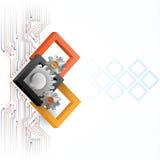 Cogwheels obramiający trzy wymiarów kwadratami Fotografia Stock