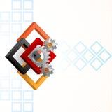Cogwheels obramiający trzy wymiarów kwadratami Obrazy Royalty Free