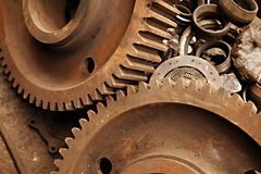 Cogwheels. Old rusty gears of a steel machinery Stock Image