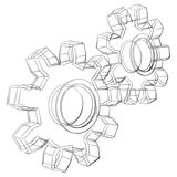 Cogwheels sketch Vector Illustration