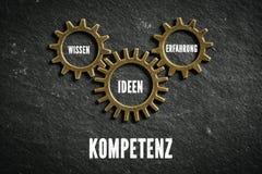 Cogwheels symbolizuje związek składniki «kompetencja «w niemiec zdjęcia royalty free