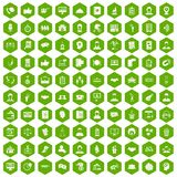 100 coherence icons hexagon green. 100 coherence icons set in green hexagon isolated vector illustration vector illustration