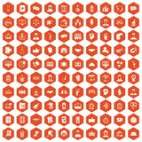 100 coherence icons hexagon orange. 100 coherence icons set in orange hexagon isolated vector illustration Royalty Free Stock Photo