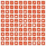 100 coherence icons set grunge orange. 100 coherence icons set in grunge style orange color isolated on white background vector illustration royalty free illustration