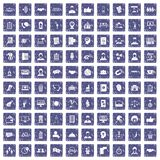 100 coherence icons set grunge sapphire. 100 coherence icons set in grunge style sapphire color isolated on white background vector illustration Royalty Free Stock Images