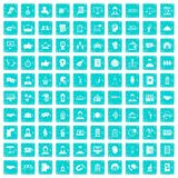 100 coherence icons set grunge blue Royalty Free Stock Images