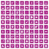 100 coherence icons set grunge pink. 100 coherence icons set in grunge style pink color isolated on white background vector illustration Stock Images