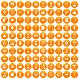 100 coherence icons set orange. 100 coherence icons set in orange circle isolated vector illustration royalty free illustration