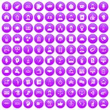 100 coherence icons set purple. 100 coherence icons set in purple circle isolated vector illustration Stock Illustration