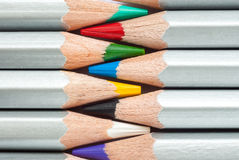 Cohesive colored pencils. Sharpened colored pencils. A stack of colored pencils. Ready to paint. Stock Image