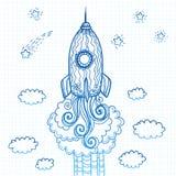 Cohete adornado de los garabatos del vector que comienza al espacio Fotografía de archivo libre de regalías