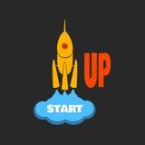 Cohete amarillo - la idea de comenzar un negocio Imagen de archivo