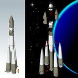 Cohete de espacio hola-detallado del vector Imagenes de archivo