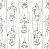Cohete de espacio inconsútil del ` s de los niños del modelo de la repetición, espacio, planetas, estrellas en el fondo blanco, e ilustración del vector