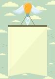 Cohete de la lámpara con las alas que levantan el cartel en el cielo Imagen de archivo