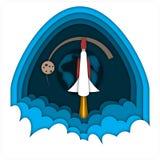 Cohete de lanzamiento, volando en el espacio contra la tierra y la luna del planeta en fondo azul marino del cielo Imagen de archivo libre de regalías
