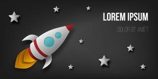 Cohete del vector, espacio, planetas, estrellas, corte del papel, 3d Utilizado para los carteles, carteles, postales, banderas, f stock de ilustración