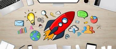 Cohete dibujado mano roja con los iconos en fondo de la oficina Imágenes de archivo libres de regalías