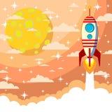 cohete en el fondo de la luna Imagen de archivo libre de regalías