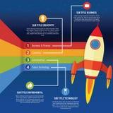 Cohete infographic del negocio Imagenes de archivo