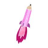 cohete retro del lápiz del rosa de la historieta ilustración del vector