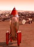 Cohete retro en Marte Fotos de archivo libres de regalías