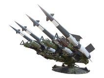 Cohetes antiaéreos aislados en blanco imagen de archivo