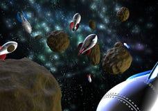 Cohetes de espacio del vuelo en espacio Foto de archivo