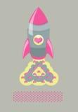 Cohetes del amor del cartel Fotografía de archivo