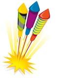 Cohetes del fuego artificial ilustración del vector