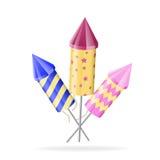 Cohetes del fuego artificial de diverso color en blanco Fotos de archivo libres de regalías