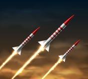 Cohetes del vuelo ilustración del vector