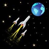 Cohetes que vuelan de espacio hacia la tierra Imágenes de archivo libres de regalías