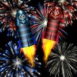 Cohetes sonrientes de los fuegos artificiales Fotos de archivo