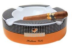 Cohiba cigarr på askfatet Arkivfoton