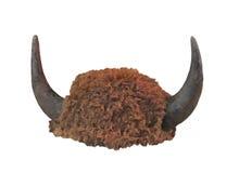 Coiffe de fourrure de bison avec des klaxons d'isolement Photo libre de droits