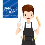 Coiffeur With Barber Shop Equipment d'homme Image stock