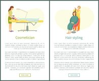 Coiffeur Cosmetic Procedures Vector d'esthéticien illustration stock