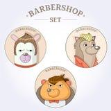 Coiffeur de hippie d'animaux de vecteur pour les hommes Ensemble de raseur-coiffeur illustration de vecteur