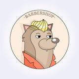 Coiffeur de hippie de loup de vecteur pour les hommes raseur-coiffeur illustration de vecteur