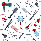 Coiffeur et coiffeur Tools Seamless Pattern Photo stock