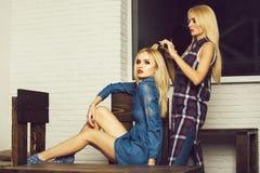 Coiffeur féminin faisant la coiffure à la jeune femme images libres de droits