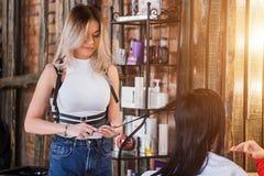 Coiffeur féminin souriant faisant la coiffure à la femme de brune photographie stock libre de droits