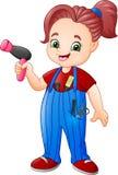 Coiffeur féminin travaillant avec le sèche-cheveux et les ciseaux illustration stock