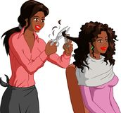 Coiffeur. Vector illustration of an attractive black woman in purple jumper having her curly brown hair cut with comb and scissors by a black hairdresser in a Stock Images