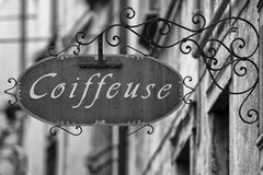 Coiffeuse Sign. In black and white Stock Image
