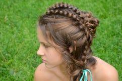 Coiffure avec de longs cheveux photographie stock
