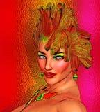 Coiffure d'image de plumes, de beauté et de mode Image libre de droits